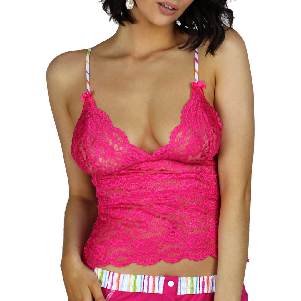 Fuchsia Pink Lace Lingerie Top   FOXERS
