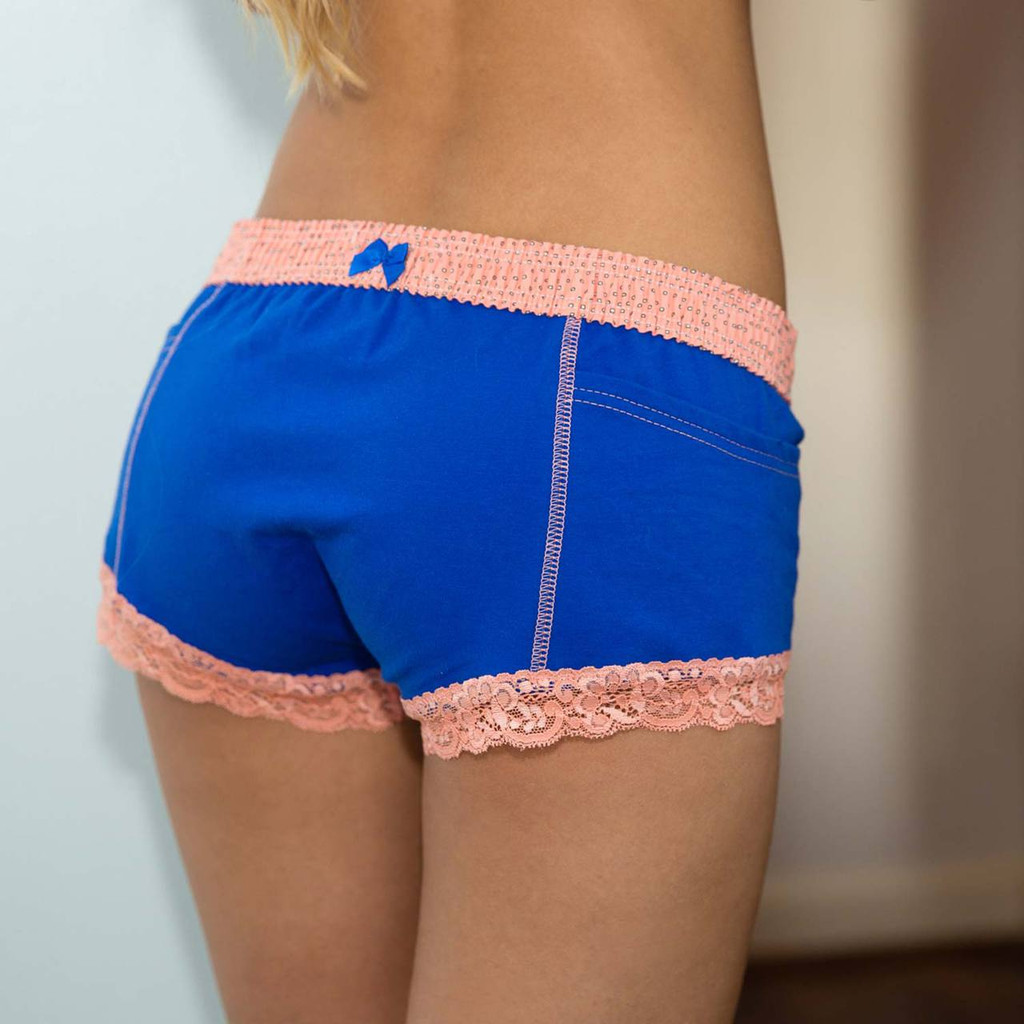 Women's Blue Boxer Brief Panties with Coral Waistband detailed with a little satin bow.