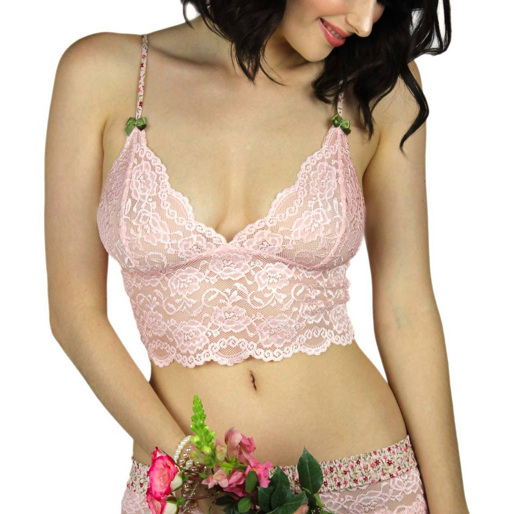 Pink Lace Cami/Bralette with Pink Posies Straps | FOXERS