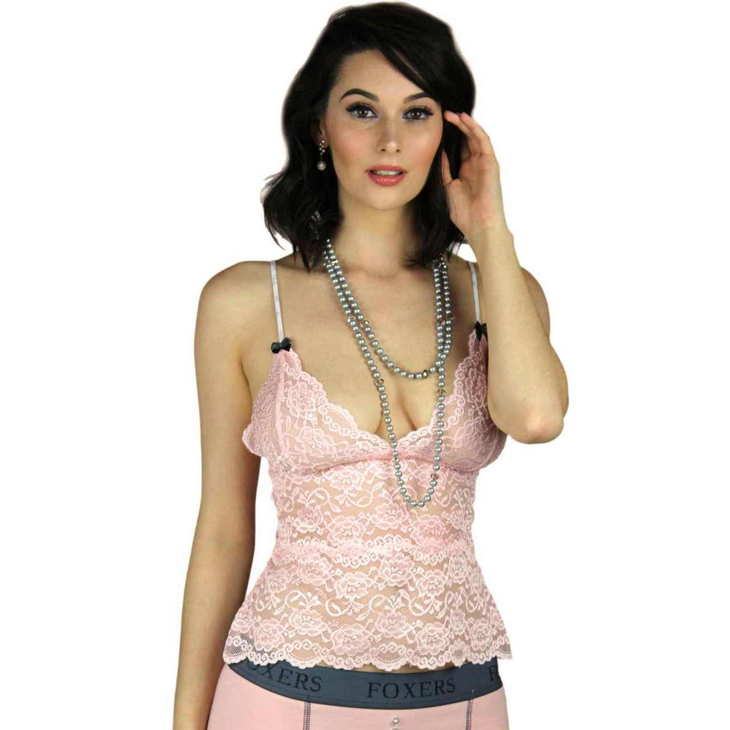 Sheer Pink Lace Chemise with White Dove Adjustable Straps