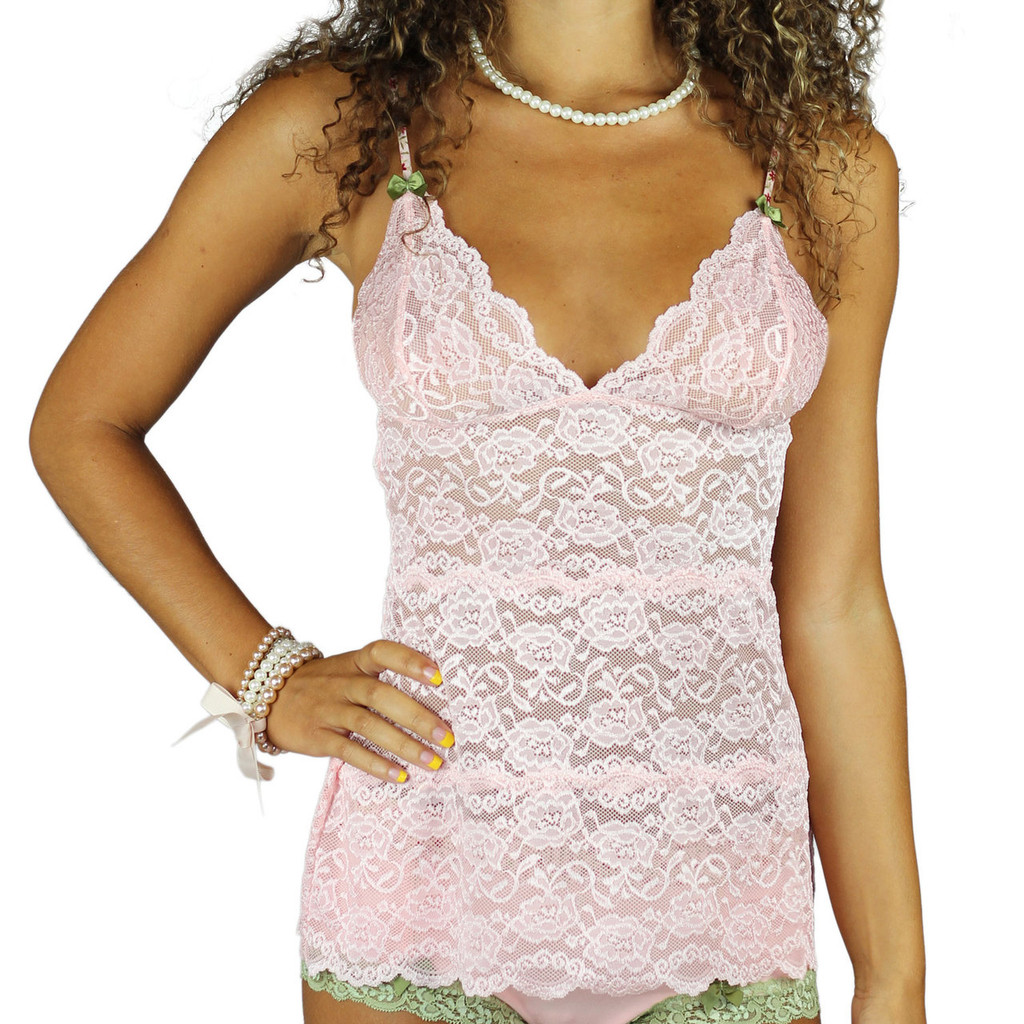 Sexy Pink Lace Waistlength Chemise