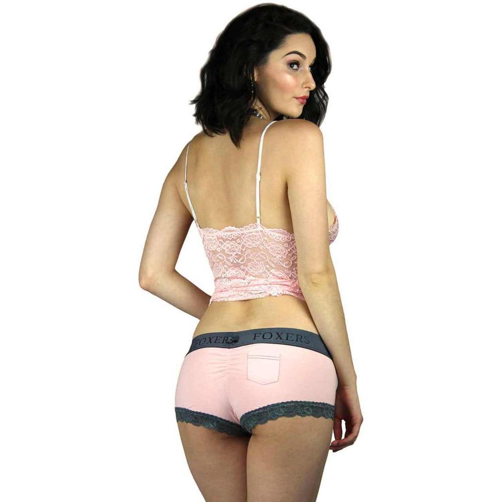 Pink Cotton Boyshort Panties | Foxers Logo Waistband