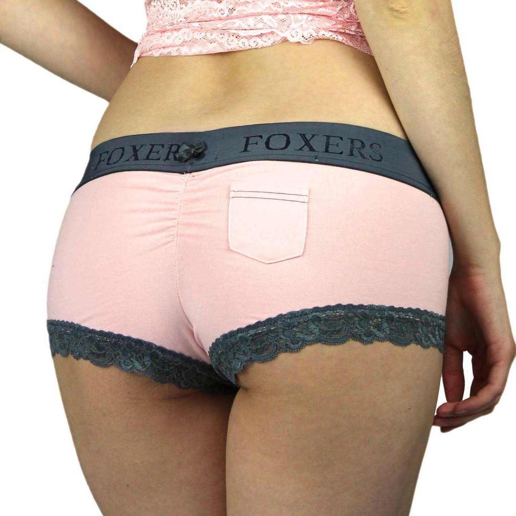 Pink Boyshort Panties with Chargray Foxers Logo Waistband