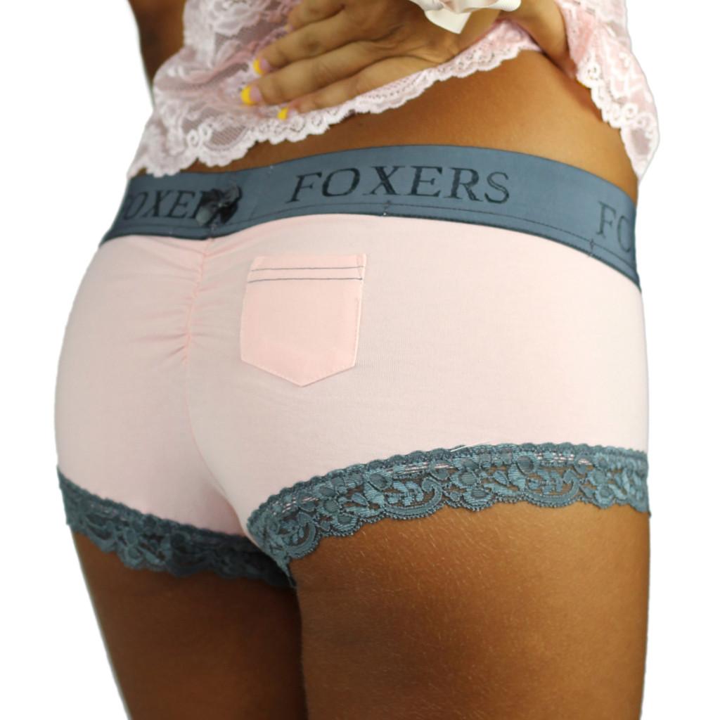 Pink Cotton Boyshort Panties with Chargray Foxers Logo Waistband