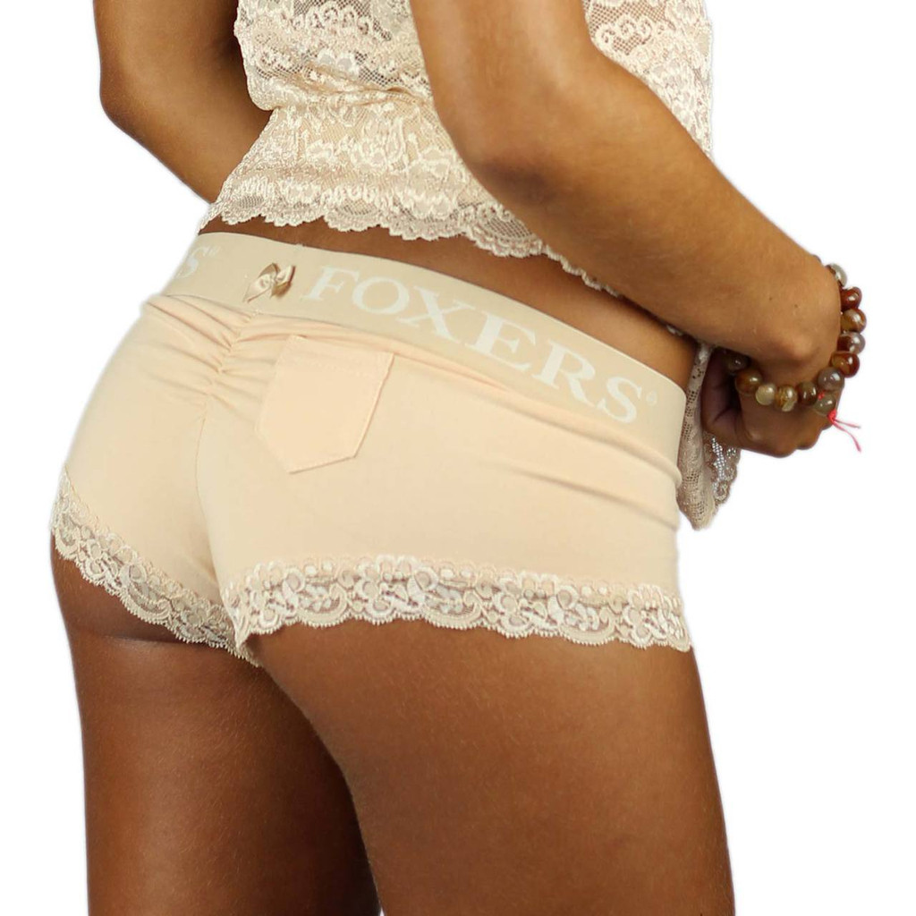 Cheeky Sand Boyshorts with Lace Trimmed Legs