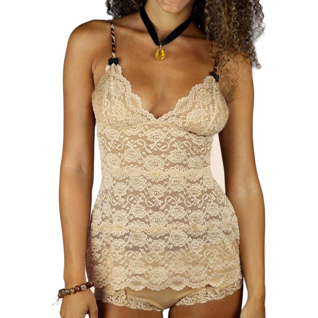 Sand (Nude) Lace Waist Length Camisole Nightie