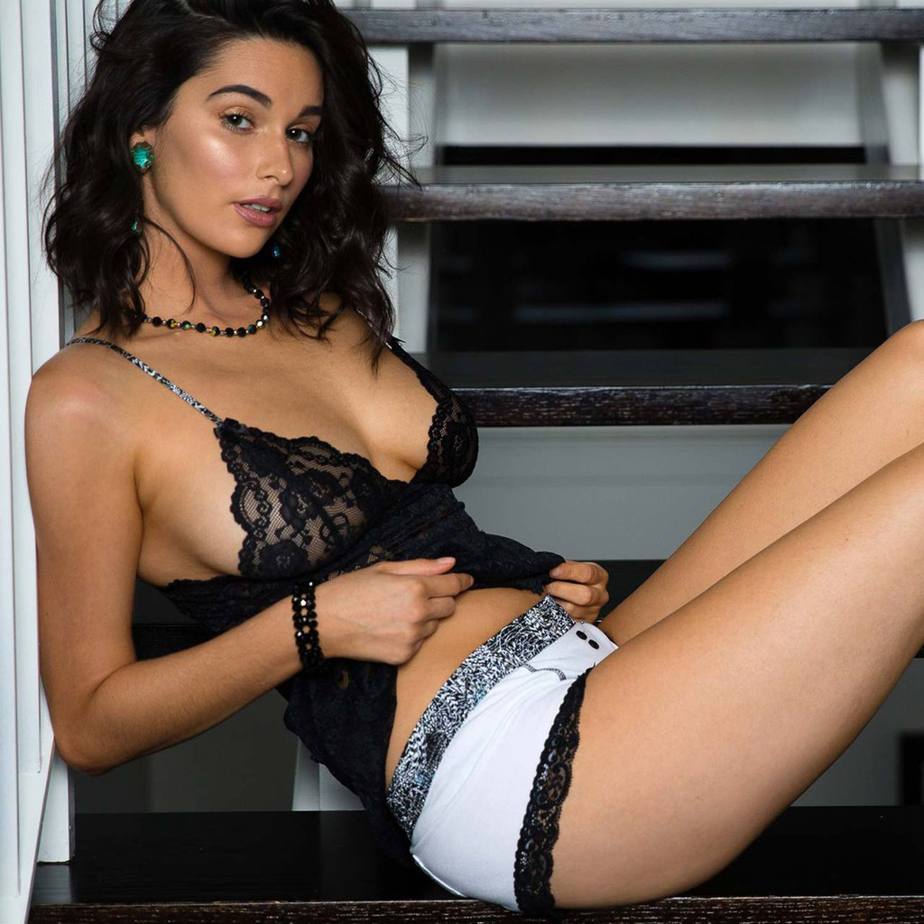 Stephy May in Foxers Feather Collection White Cotton Boyshorts and Black Lace Camisole