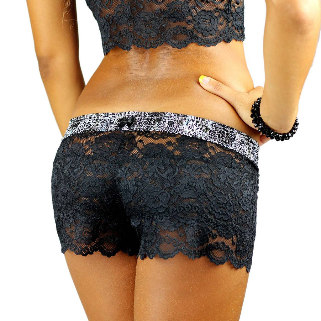 Black Lace Boxers with Feather Print Waistband