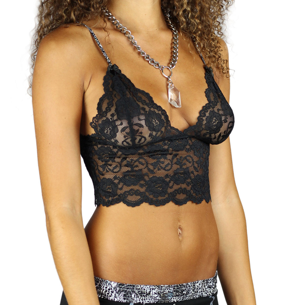 Black Lace Bralette Cami with Feather Print Straps