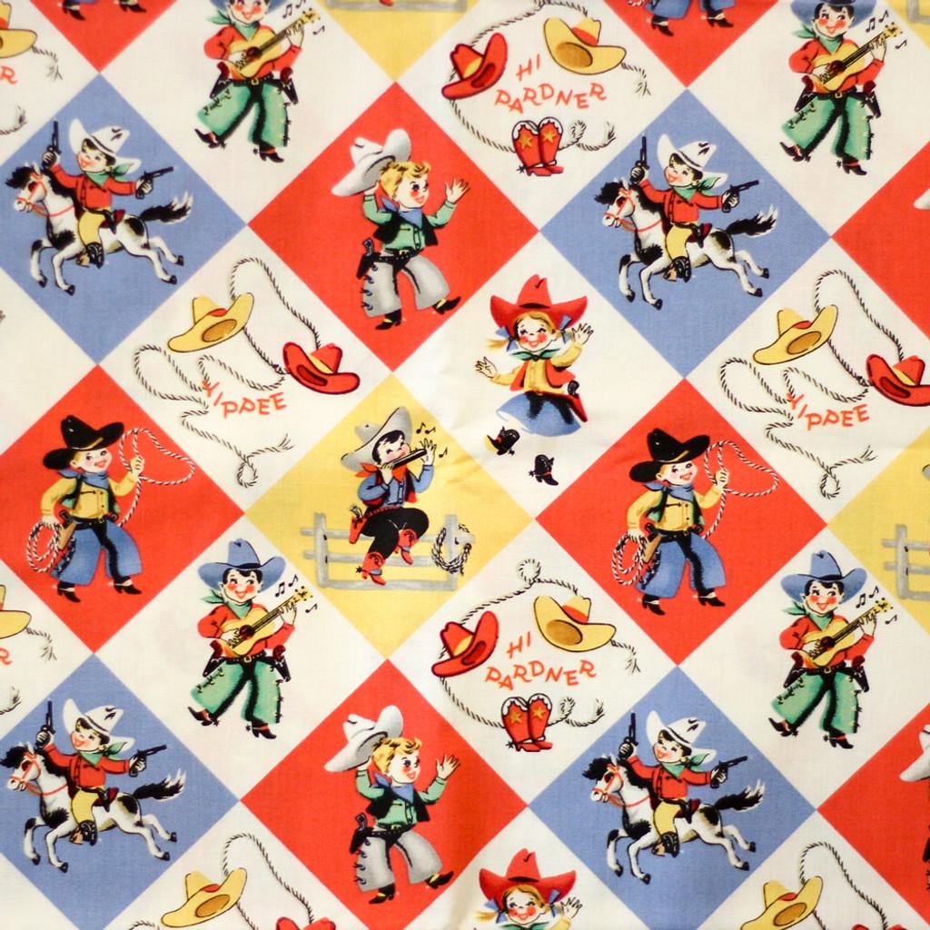 Rodeo Print Fabric Flat