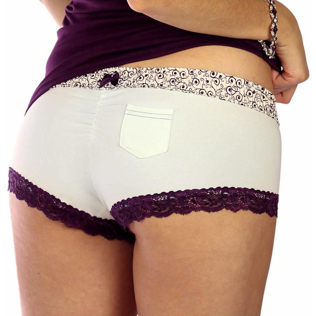 Cheeky Ivory Cotton Boyshort Panties with Plum Scroll Waist (FXBOY-11134)