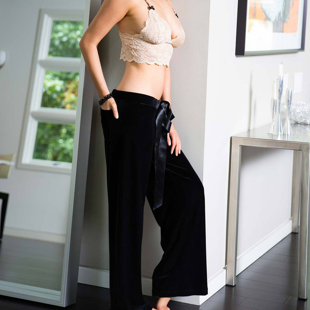 Relaxed Fit Black Velvet Palazzo Pants