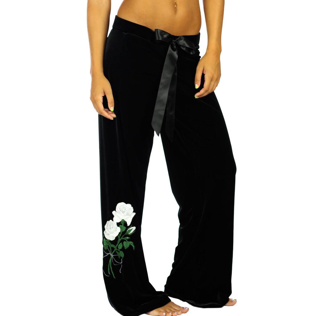 Women's Black Velvet/Velour Pants with White Rose Emboidery