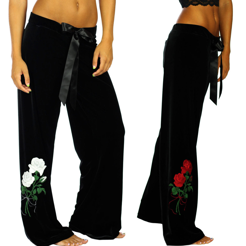 Black Velvet Palazzo Pants with Embroidered White or Red Roses