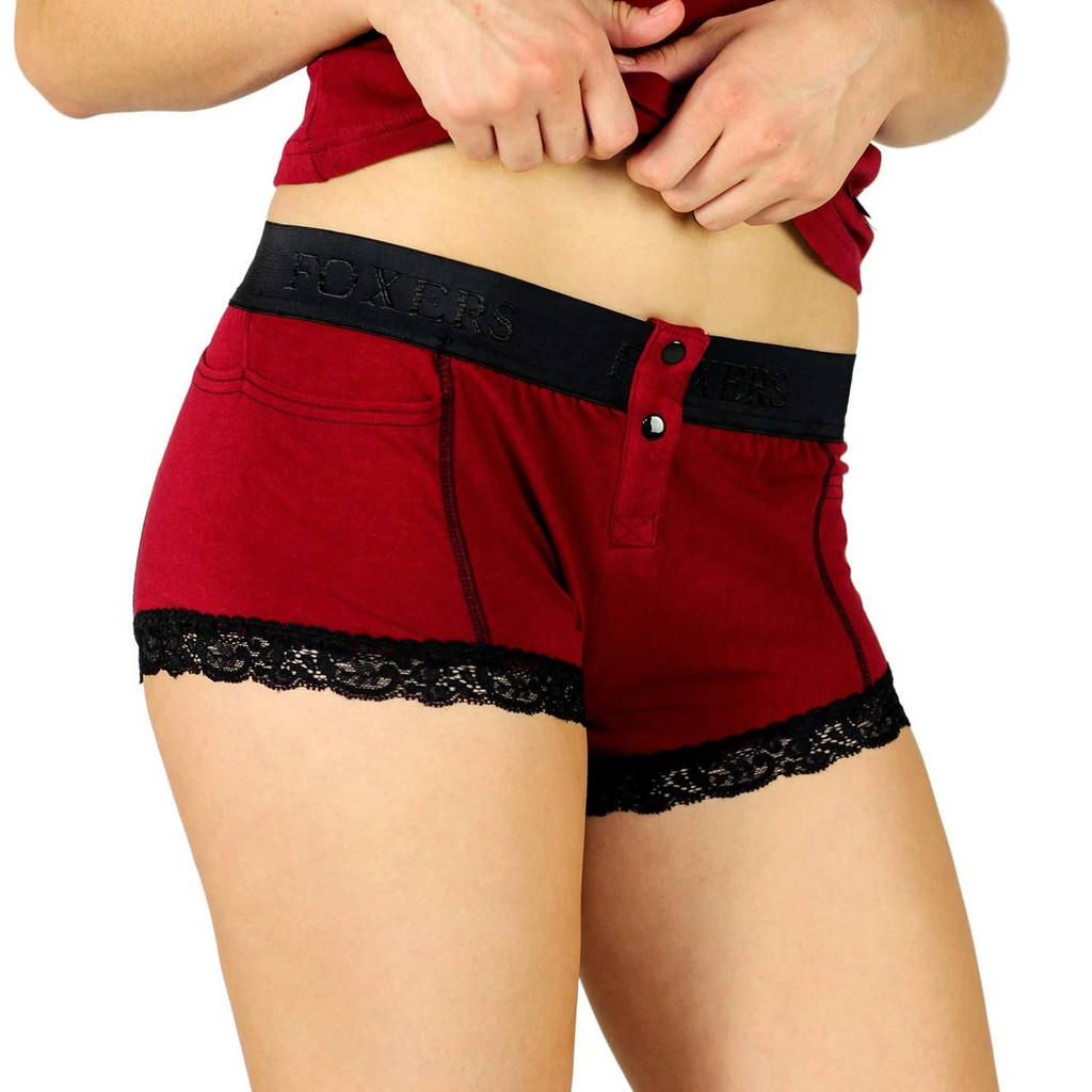 Black Cherry Girls Boxer Briefs with Foxers Black Logo Waistband (FXBB-1901L)