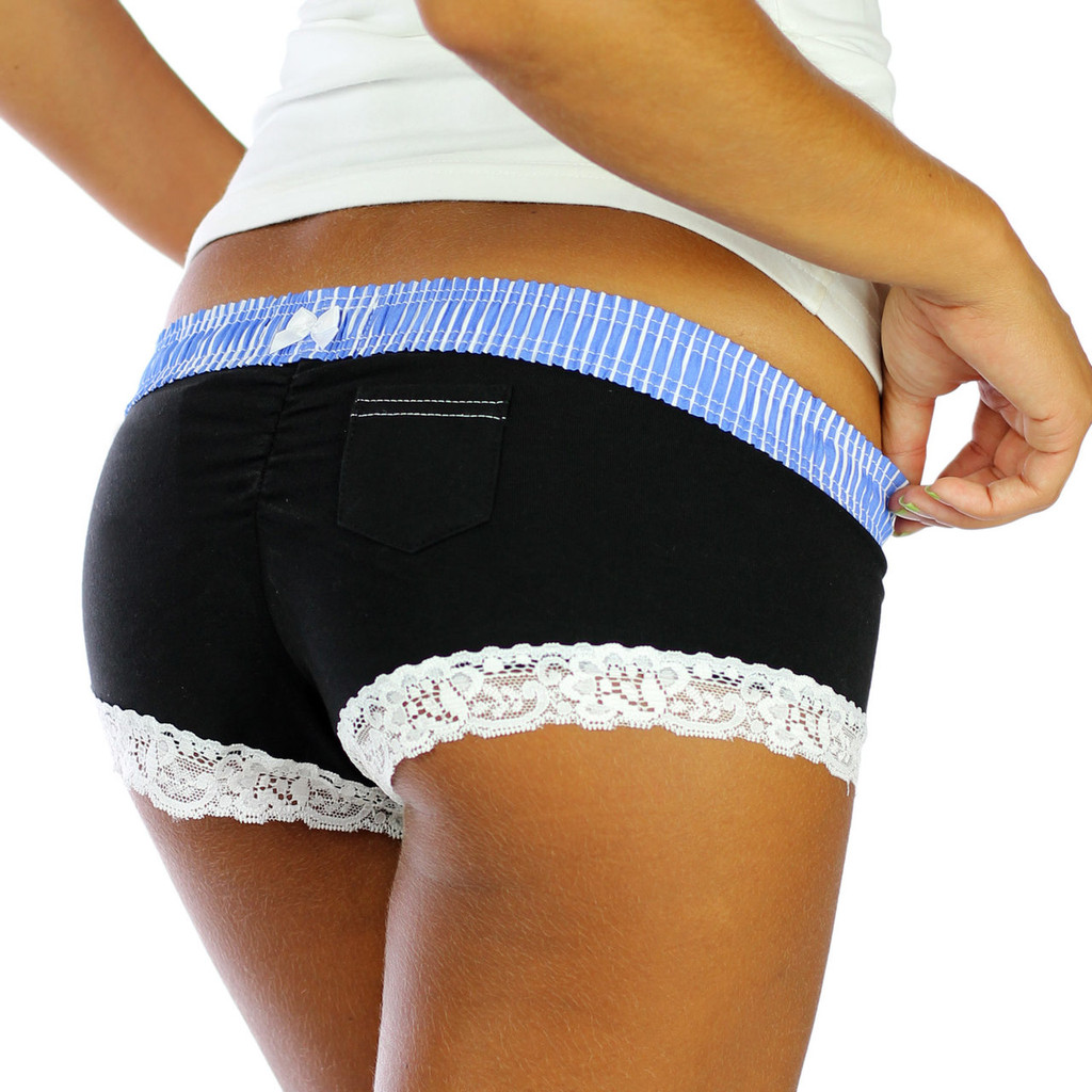 Black Cheeky Boyshorts With Light Blue Accents