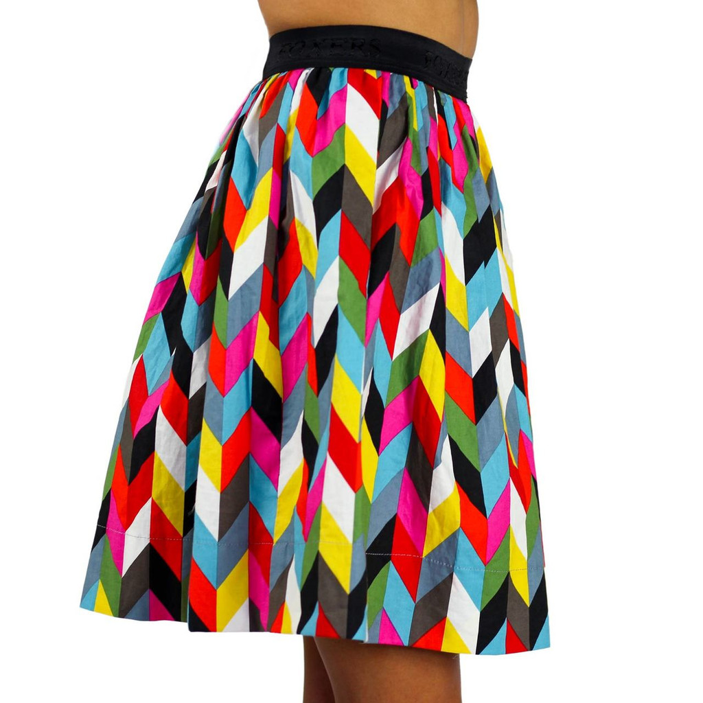 Kaleidoscope Print Skirt With Pockets