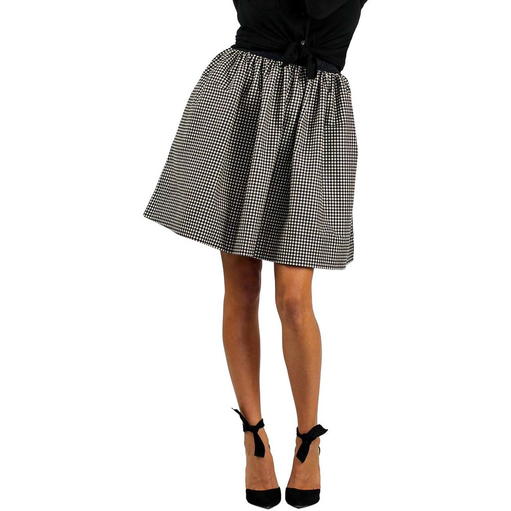 Black & White Checkered Plaid Flannel Skirt With Pockets (FXSKT-149)