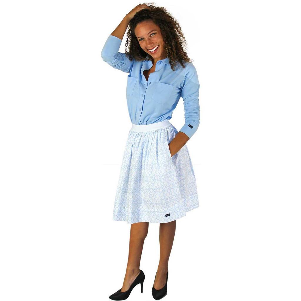Chic Bridal Skirt with Pockets | Light Blue Trellis Print