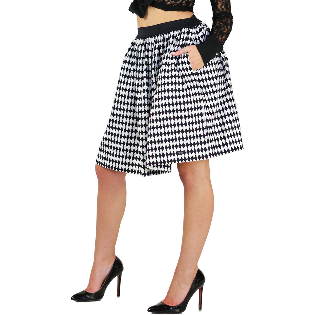 Black & White Diamond Print Skirt With Pockets - FXSKT-56