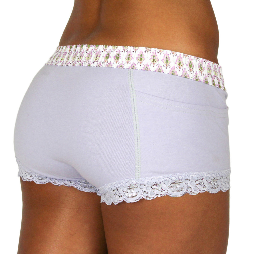 English Lavender Boxer Brief for Women Paisley Lavender Waistband