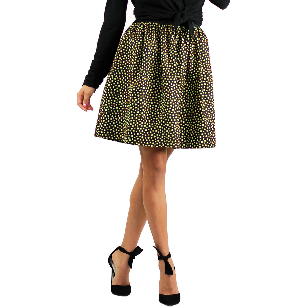Black & Yellow Polka Dot Print Skirt With Pockets (Copy of FXSKT-141)