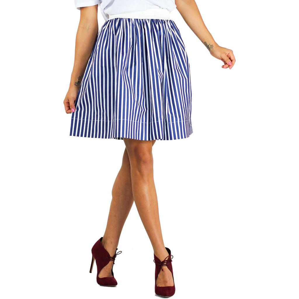 Navy Blue Striped Skirt With Pockets (FXSKT-24)