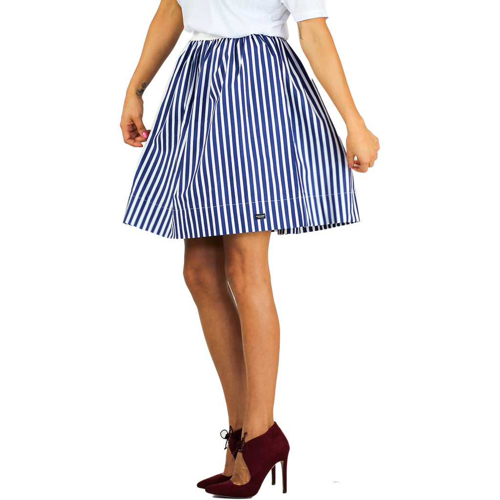 navy and white striped skirt with pockets by foxers