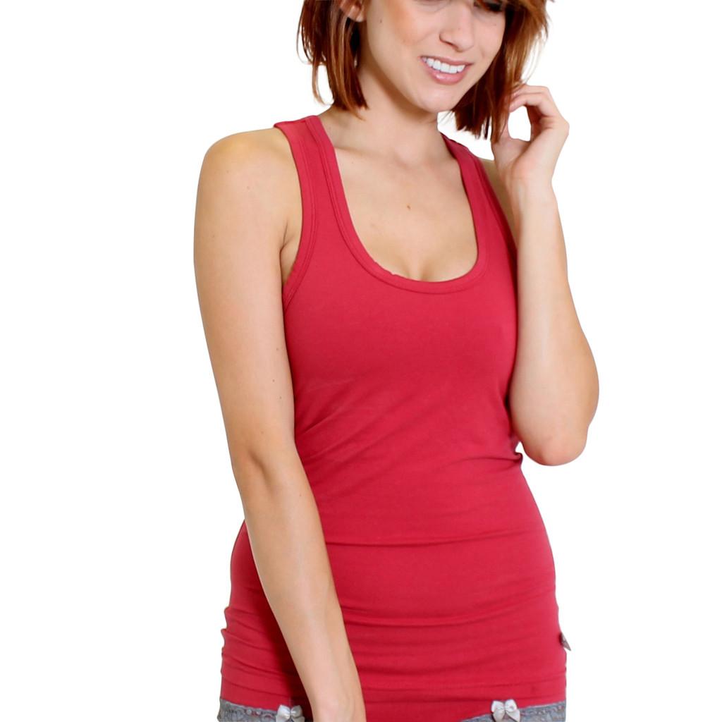 Papaya Red Tank Top Shirt with Shelf Bra