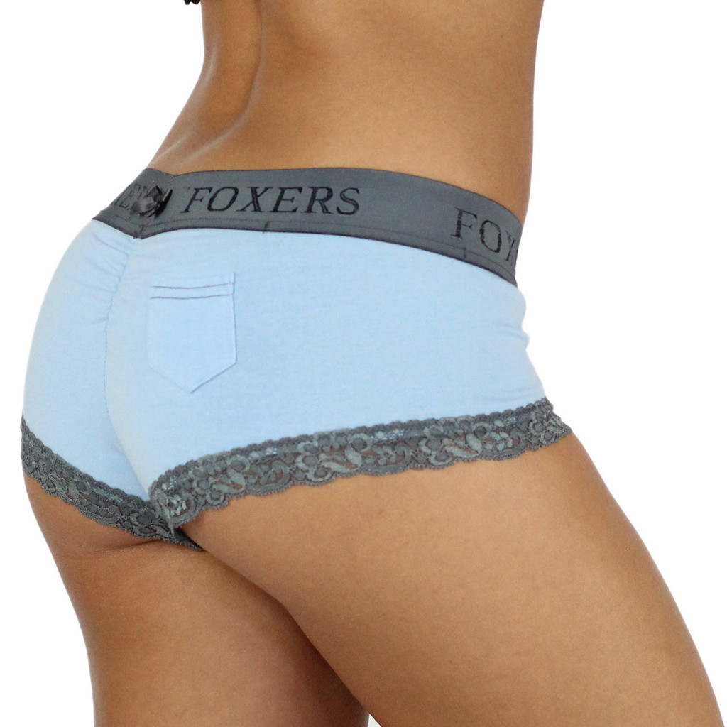 Baby Blue Cotton Boyshort Panties with Chargray Waist