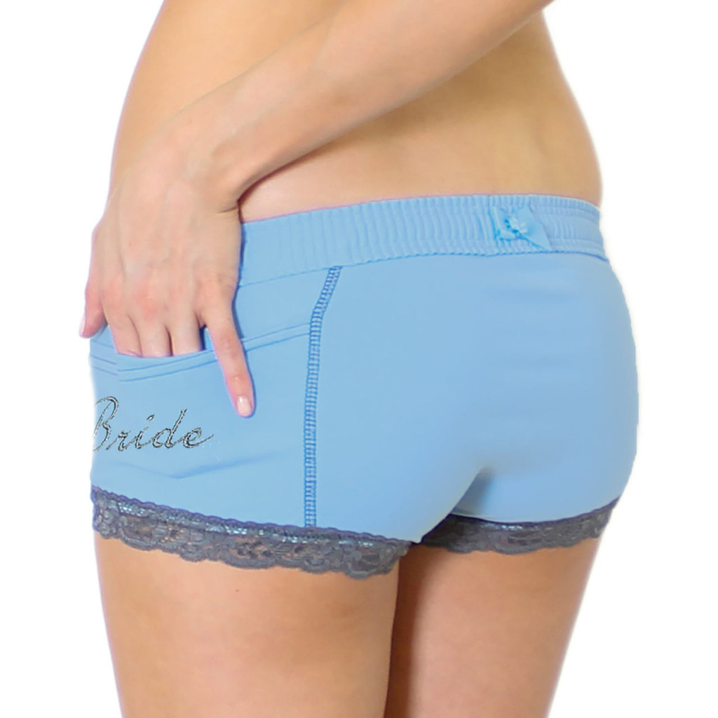 "Something Blue Women's Boxer Briefs with ""Bride"" Monogram on the pocket"