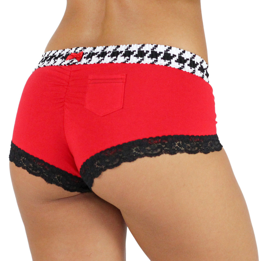 Red Boyshort with Houndstooth FOXERS Band