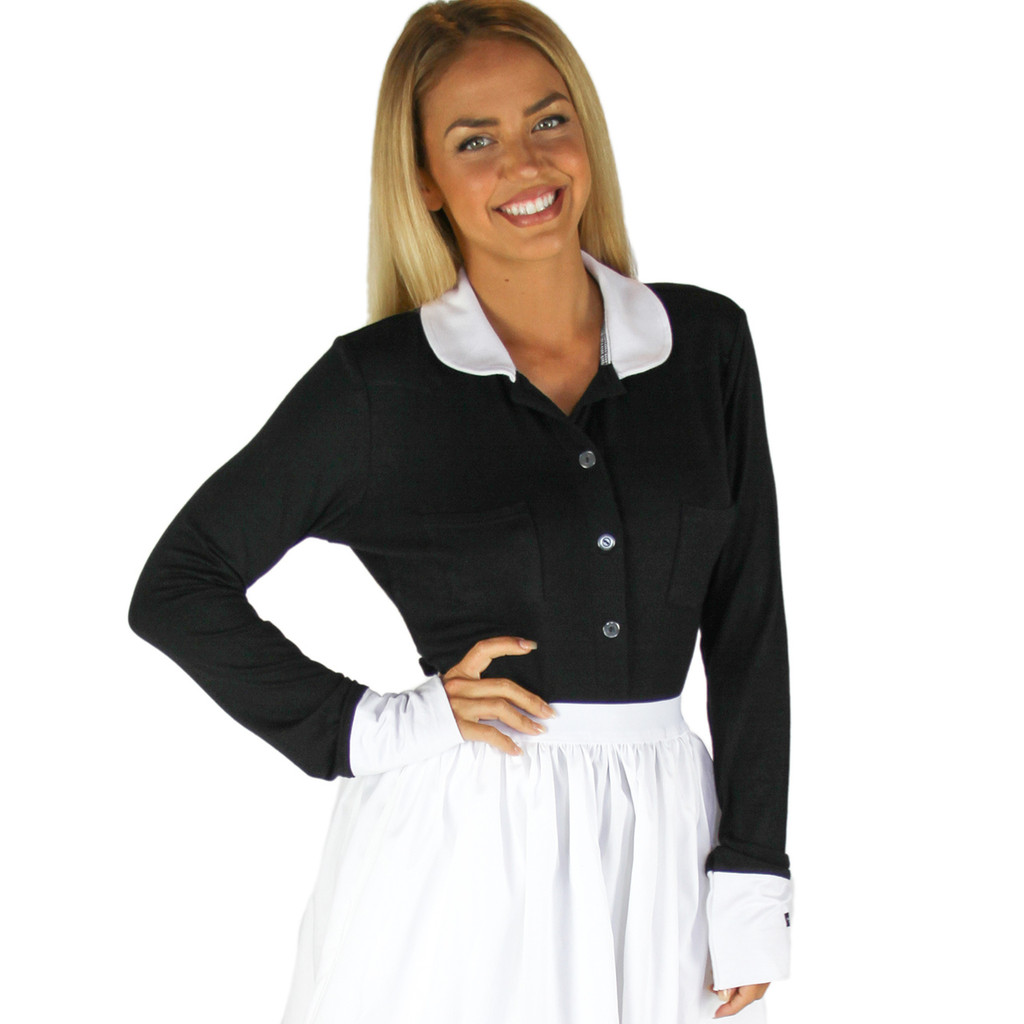 Black Button Down Top with White Cuffs & Collar| FOXERS Equestrian