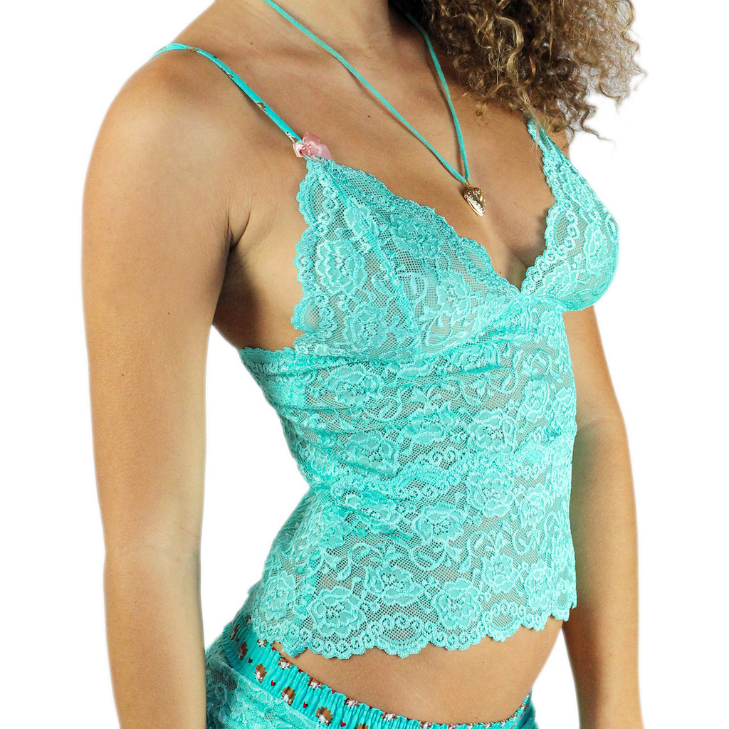 Turquoise Waist Length Lace Camisole with Hedgehog