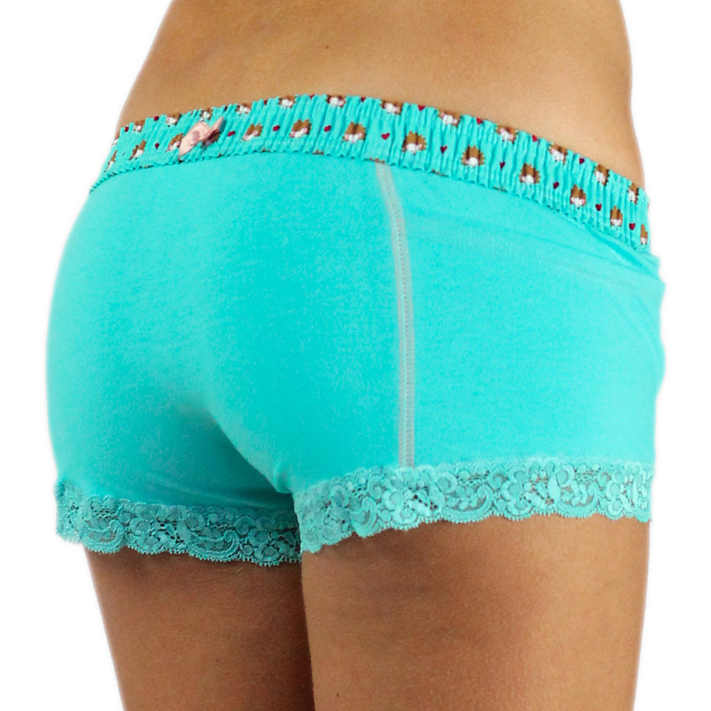 Turquoise Women's Boxer Briefs with Hedgehog Band