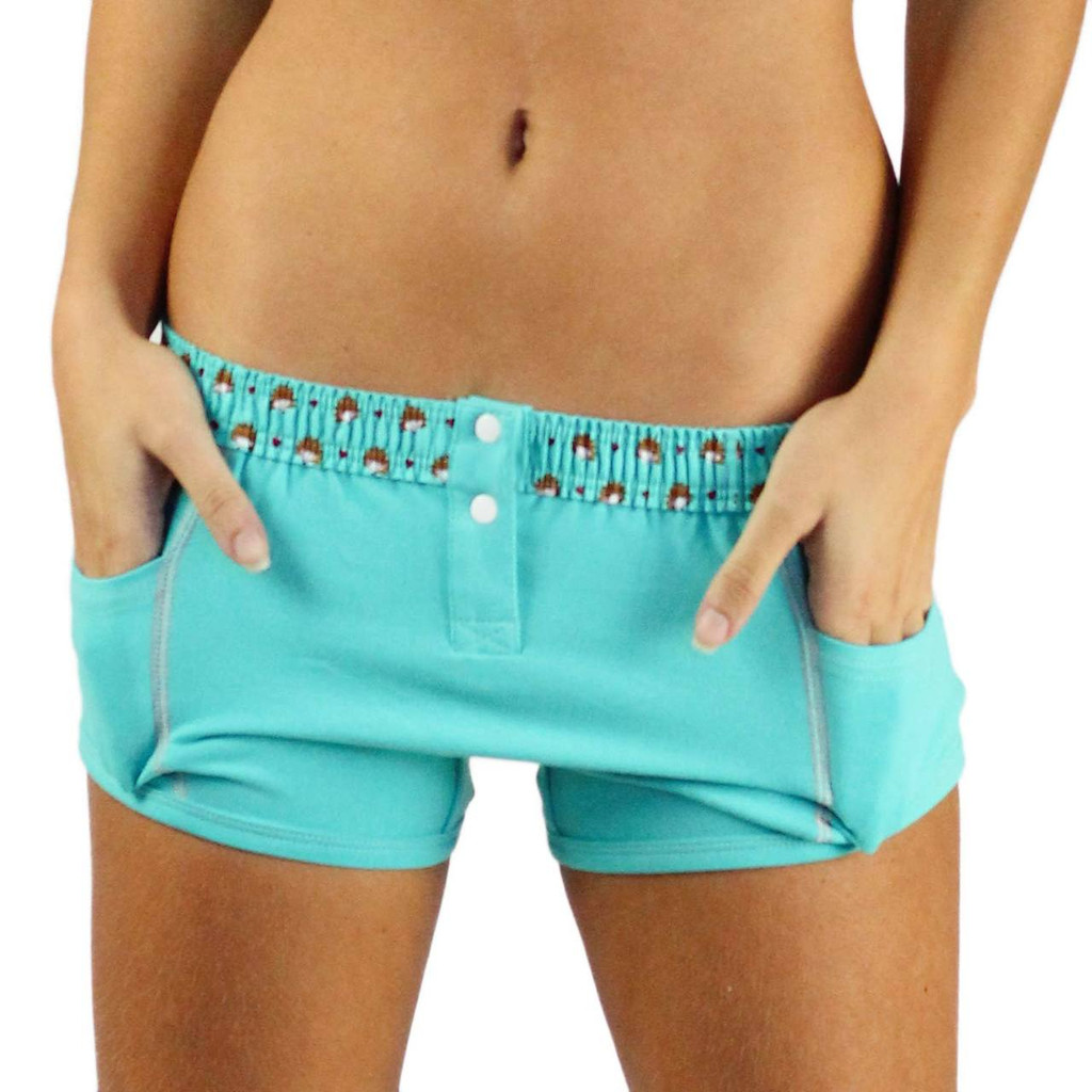 Turquoise Tomboy Boxer Brief with Hedgehog Waistband (FXBBL-67140)