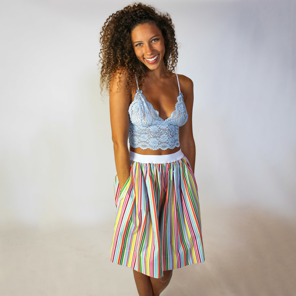 Colorful Pocket skirt and a Foxers Cropped Lace Cami
