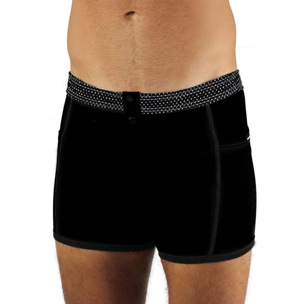 Men's Black Boxer Briefs with Pin Dot Band
