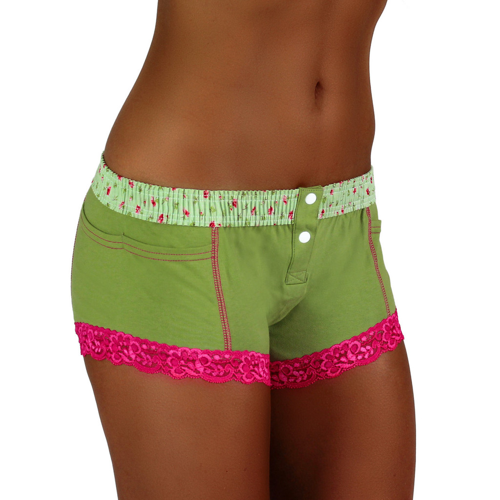 Sage Boxer Brief with Roses Over Sage Band (FXBB-68154)