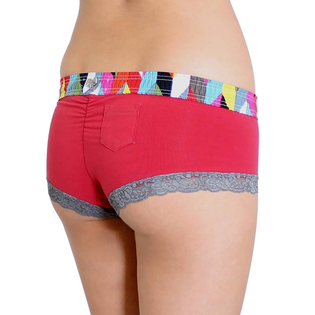 Red Papaya Boyshorts with FOXERS Kaleidoscope Waistband
