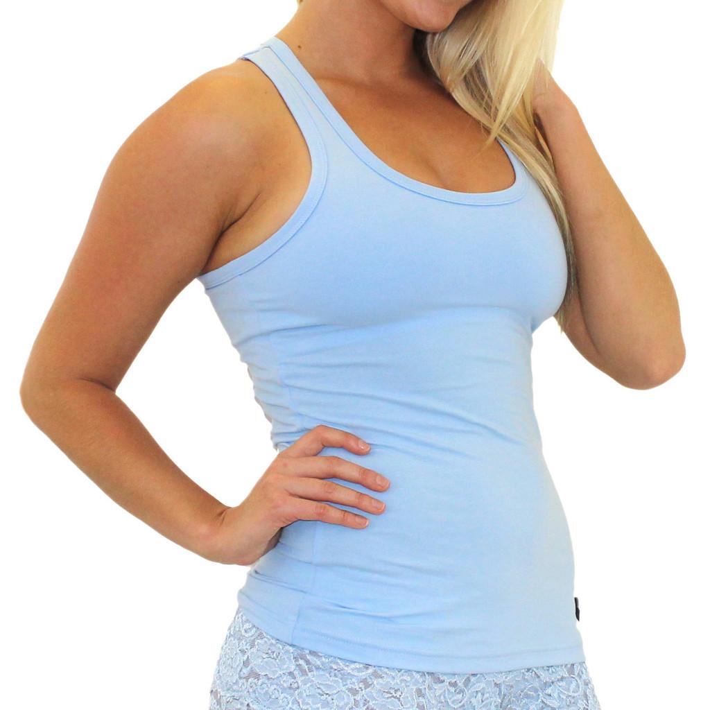 Women's Light Blue Tank Top Shirt with Shelf Bra