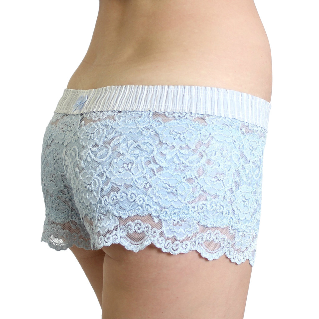 Light Blue Lace Boxers Lt Gray white stripe band