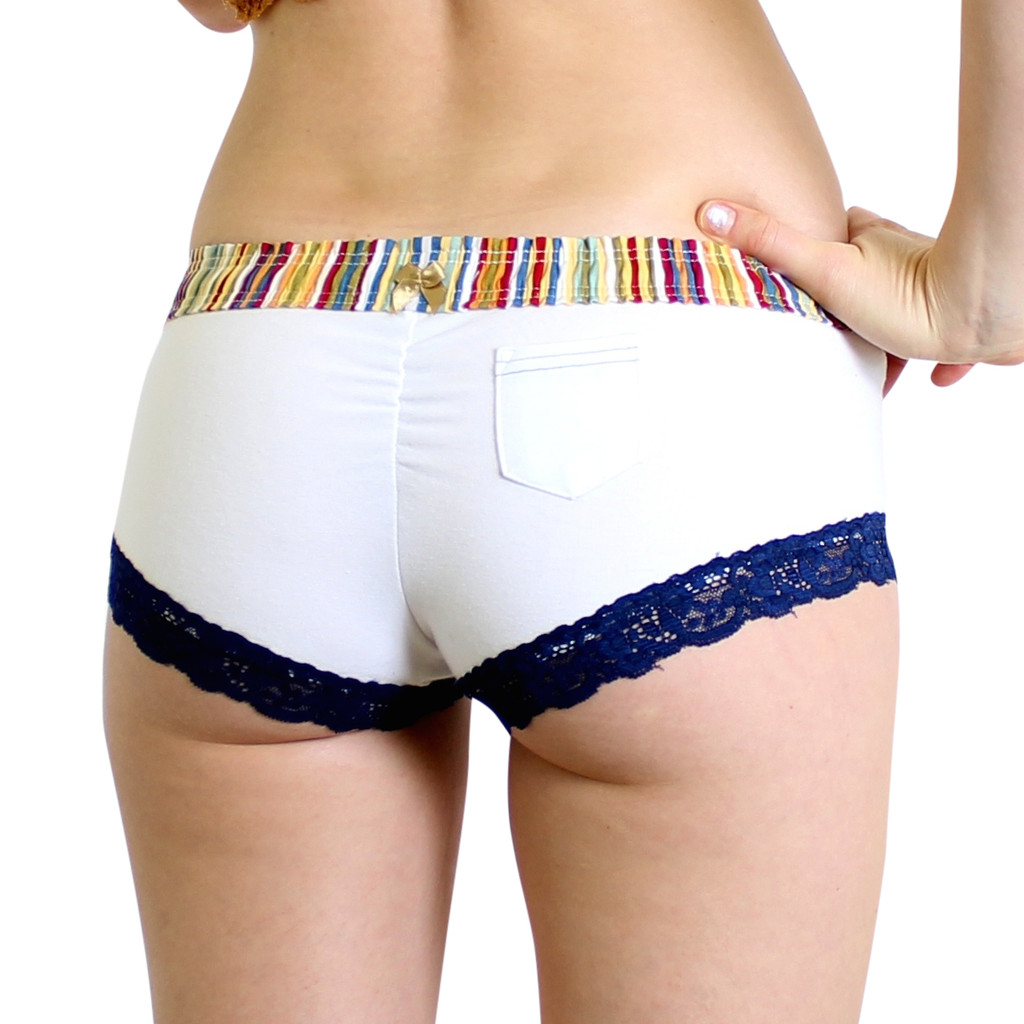 White Boy Shorts with Multicolor Waistband and Small Lipstick Pocket in back.