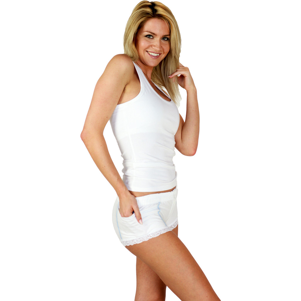 White Boxer Briefs for Women pair perfectly with our Racerback Tank Tops