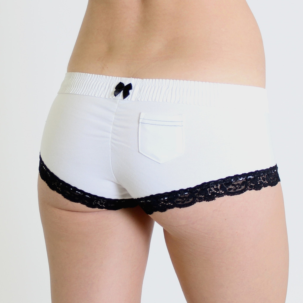 White FOXERS Band over white Boyshorts with Black Accents