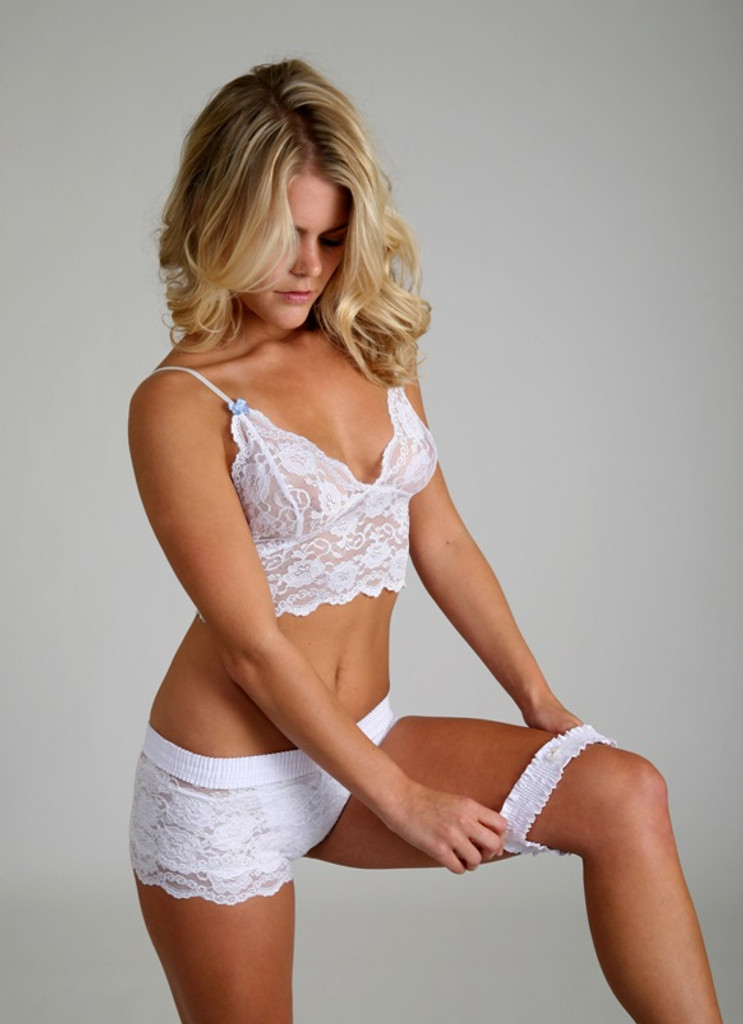 White Lace Boxer Panties with Matching Cami Top and Garter