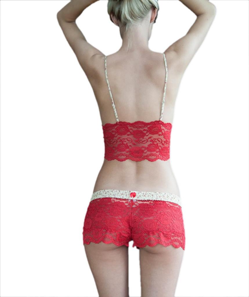Red Lace Top (Blushing Rose Straps)