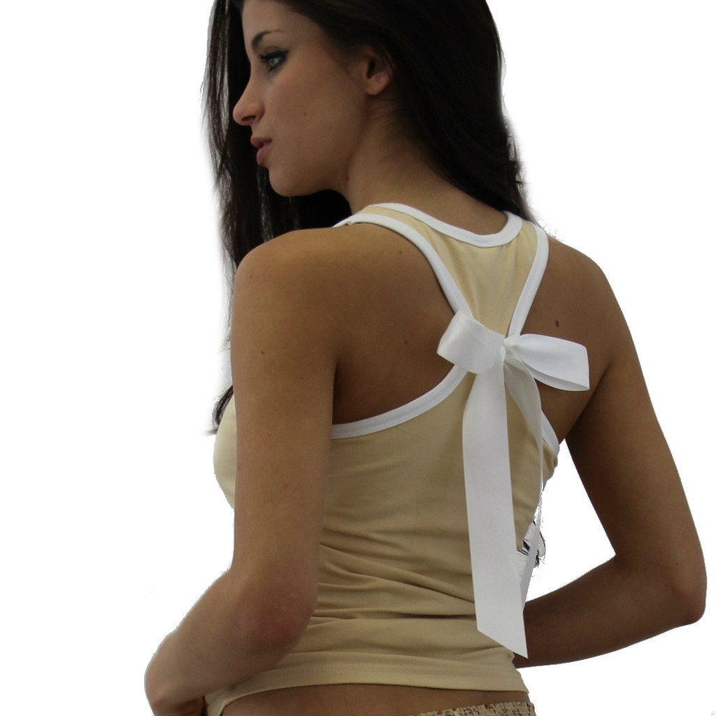 Mocha Racer Back Tank with white bow for a cute look