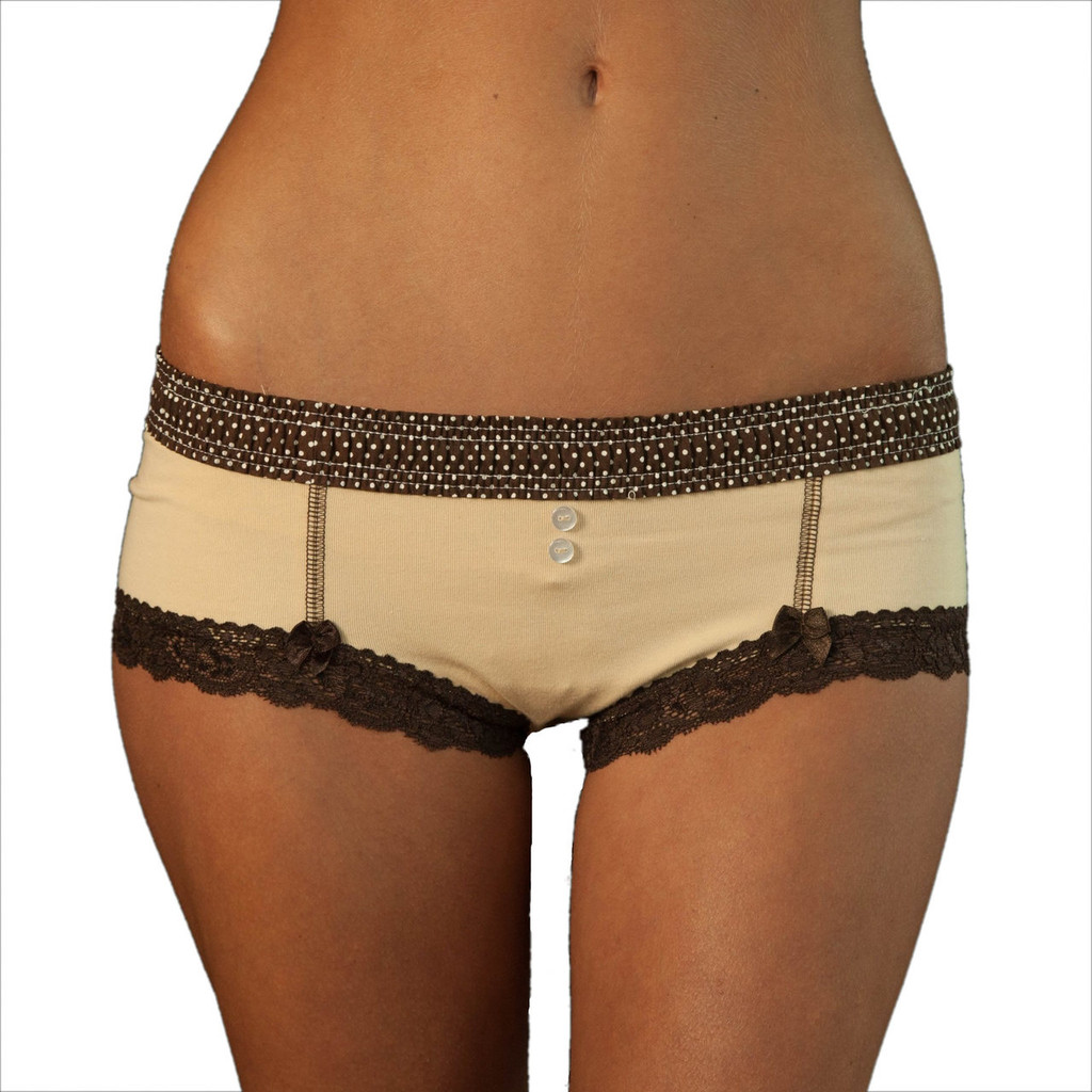 Brown Polkadot over Mocha Boyshort