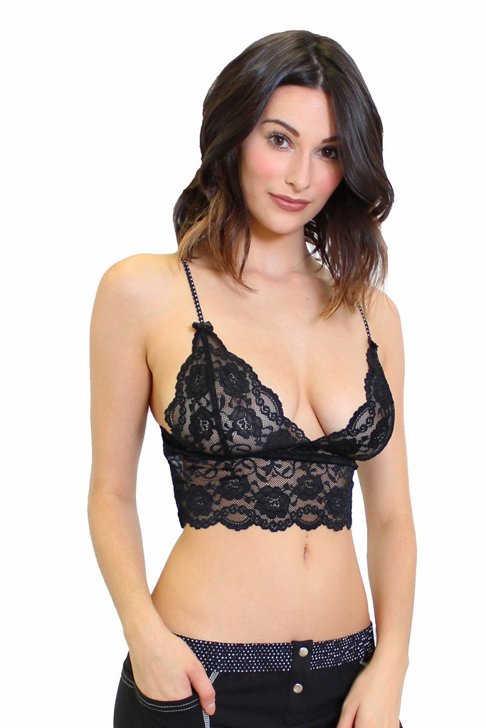 Black Lace Bralette Camisole with Polka Dot Straps